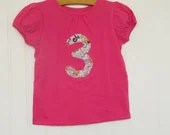 Baby girl's 3rd birthday t shirt, pink short sleeve shirt with paisley  fabric '3', 3T