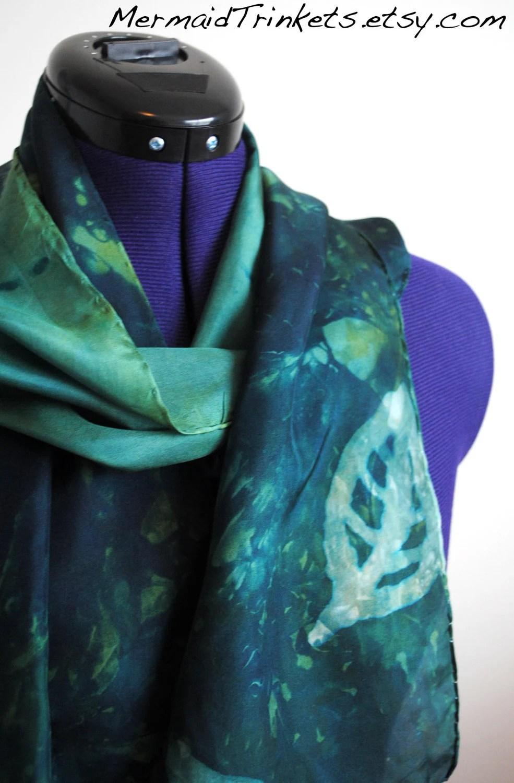 Green leaf silk long scarf - Hand acid dyed emerald