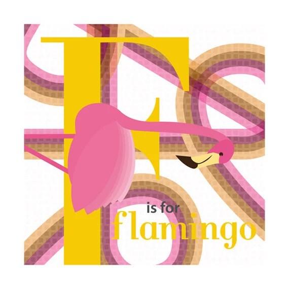 Flamingo Nursery Art Print Alphabet 9x9