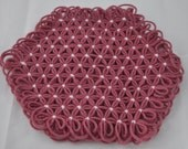 Small Trivet in 3 Layers of Country Rose Yarn with White Ties - Spring Easter Pink