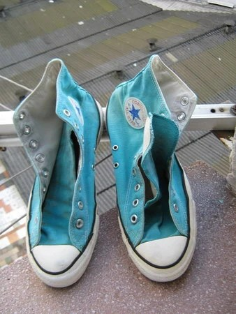 These shoes have been walkind super vintage sky blue Converse mens size 9