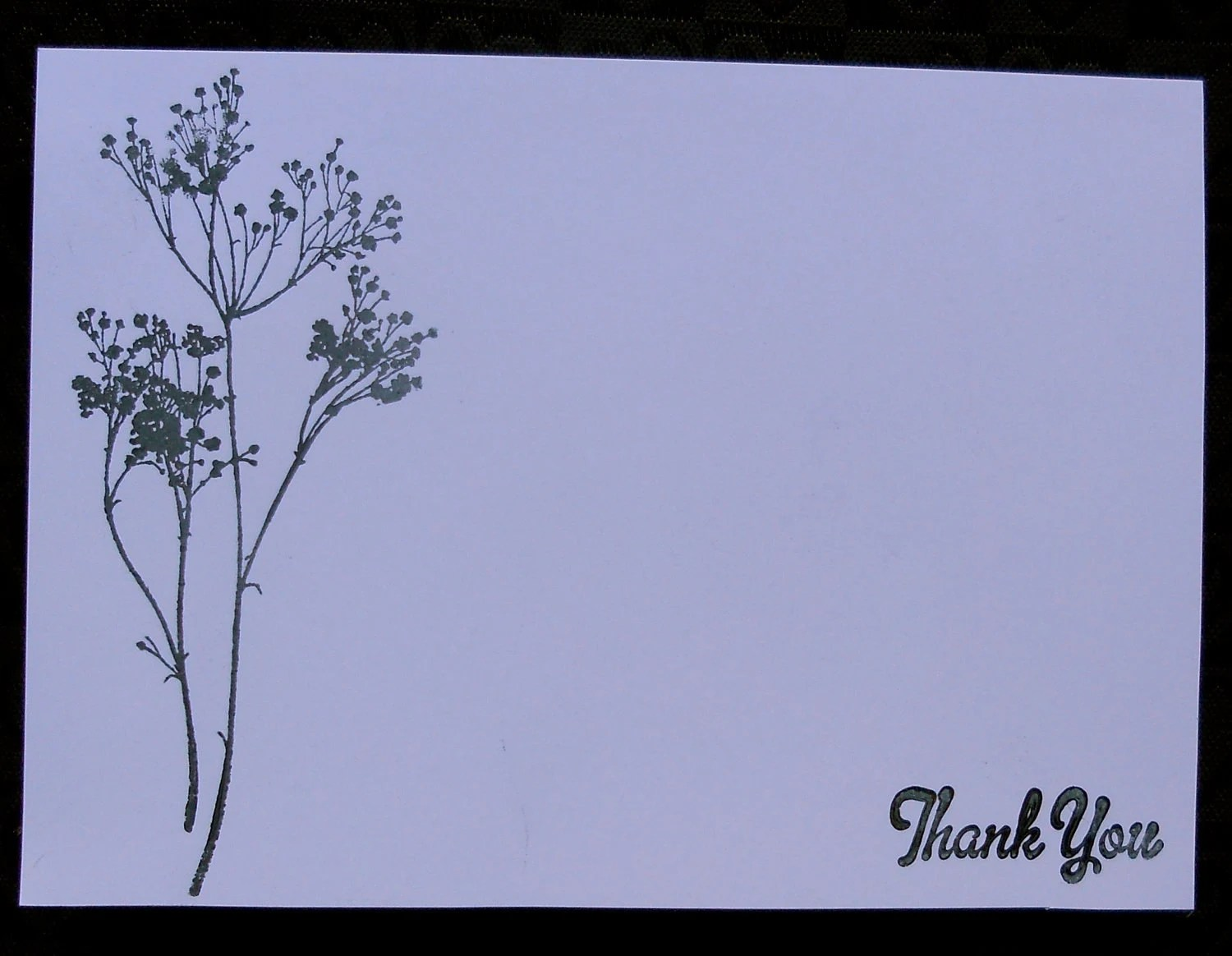 Thank you Card . Hand Stamped . Black and White . Floral .