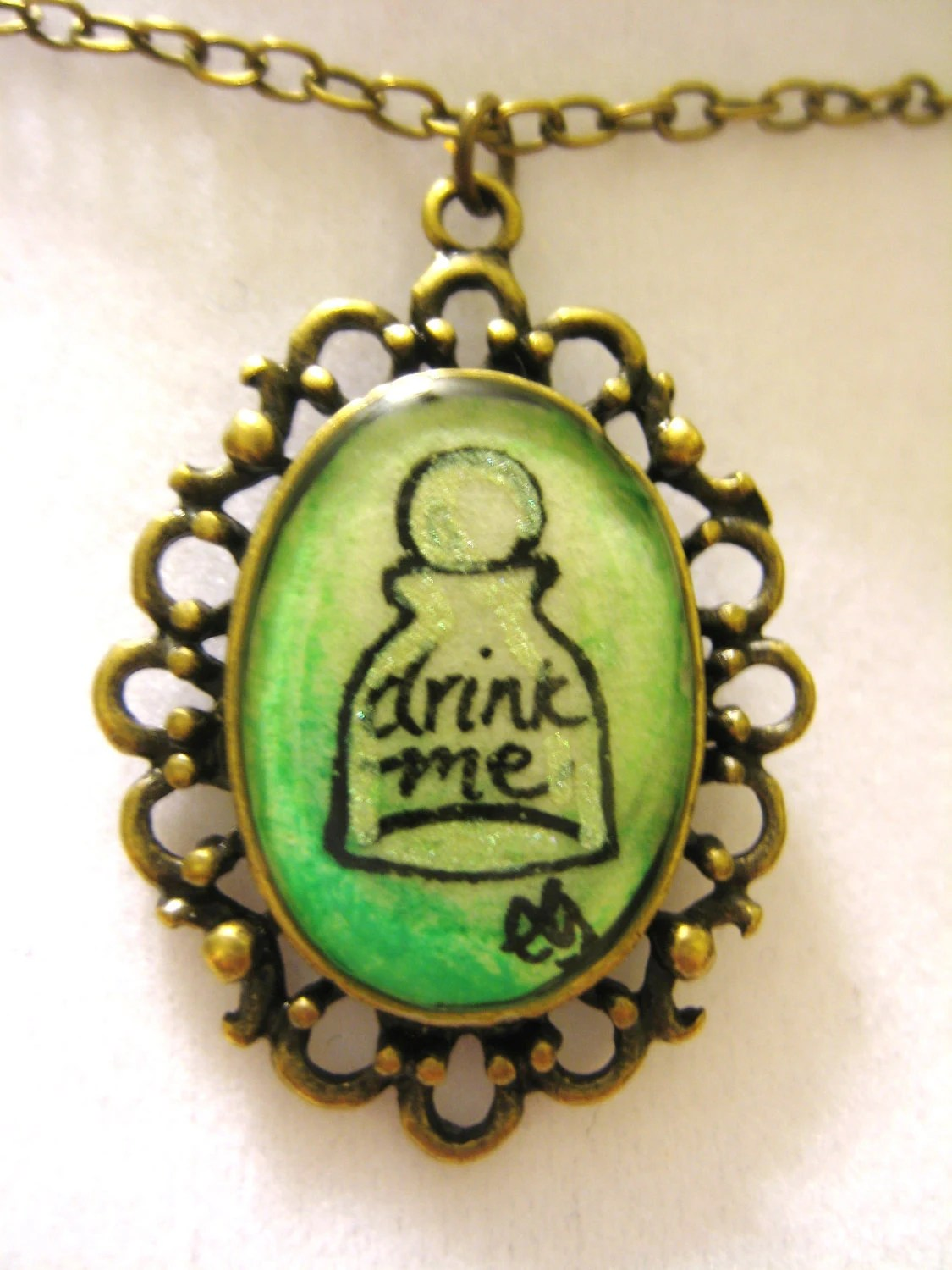 Alice In Wonderland Drink Me Hand Painted Pendant Necklace - loveandwhiskers