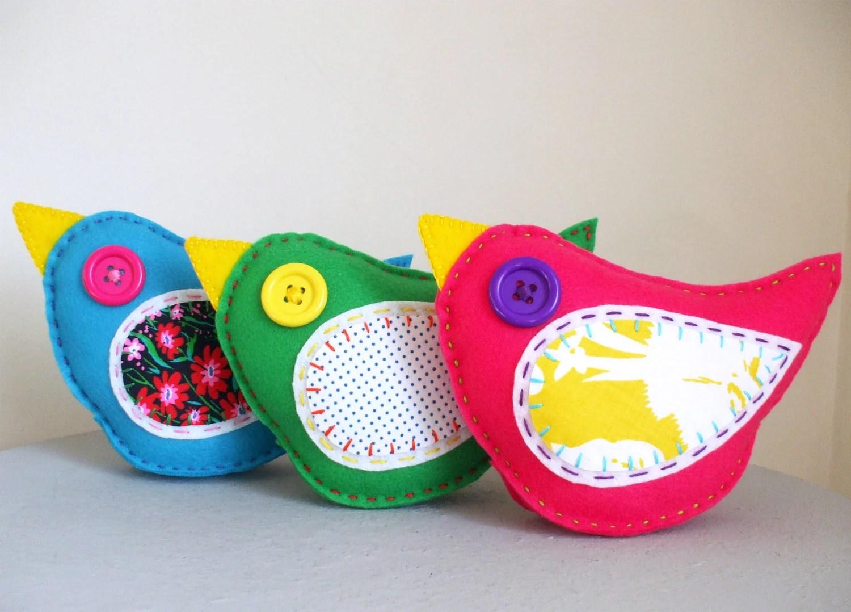 Wholesale Lot of 6 Felt Bird Plush Toys Softies Stuffed Animal Woodland - lovahandmade