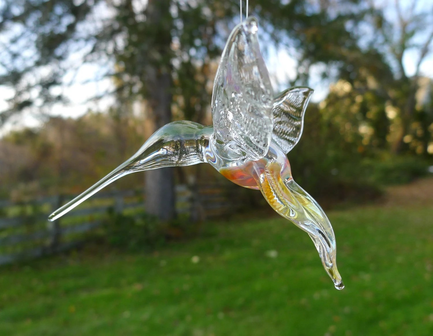 Hand Sculpted Flameworked Hanging Glass Hummingbird by Jenn Goodale