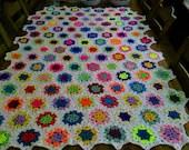 CROCHET BLANKET  Handmade hexigan design with centre flower  Style with White border  (nannycheryl original) 772