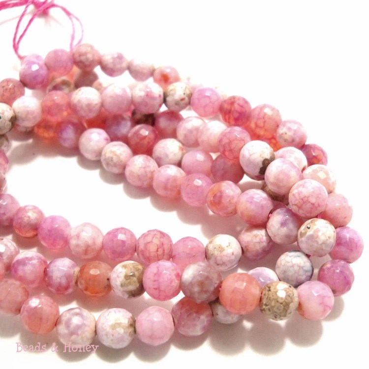 Pink and White Antique Fired Agate Gemstone Beads