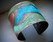 Double Verdigris Mixed Patina Copper Cuff - S/M