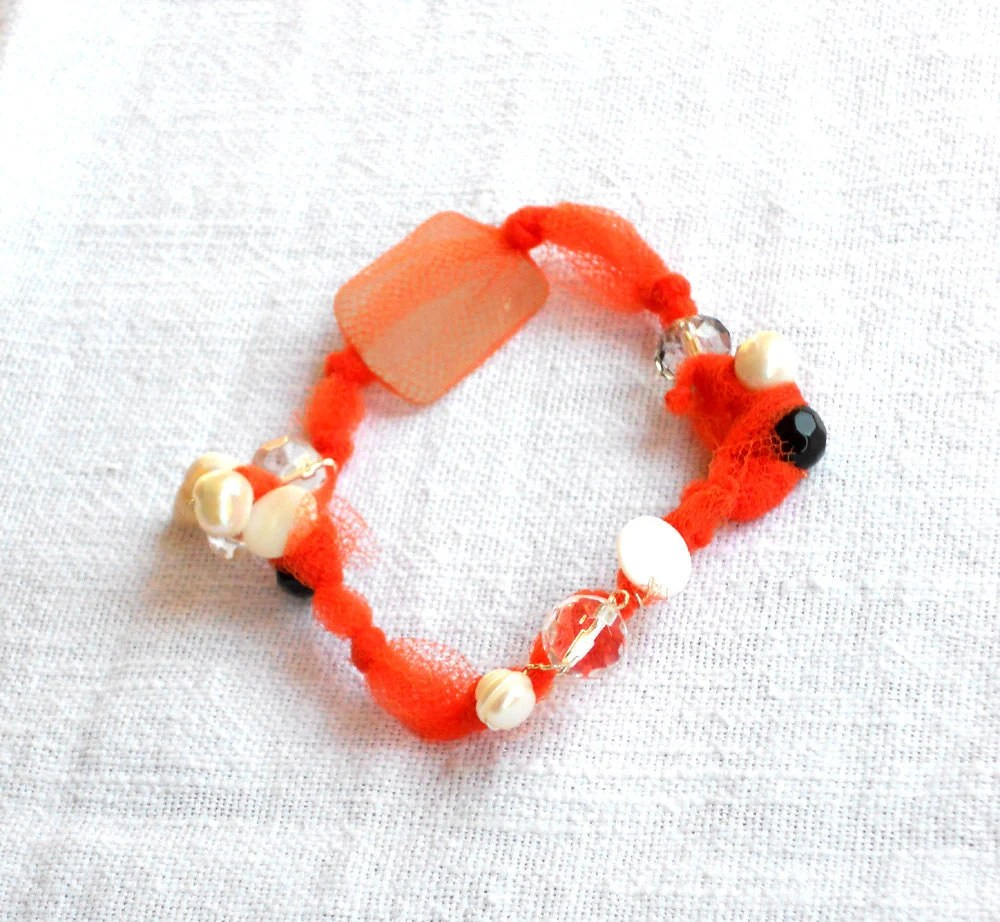 Recycled seaglass and shells fabric  bracelet orange whit beads - one of a kind