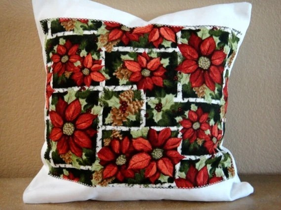 Christmas Pillow Cover Poinsettia Red Green Holly Pine Cone Decorative Cushion 16x16