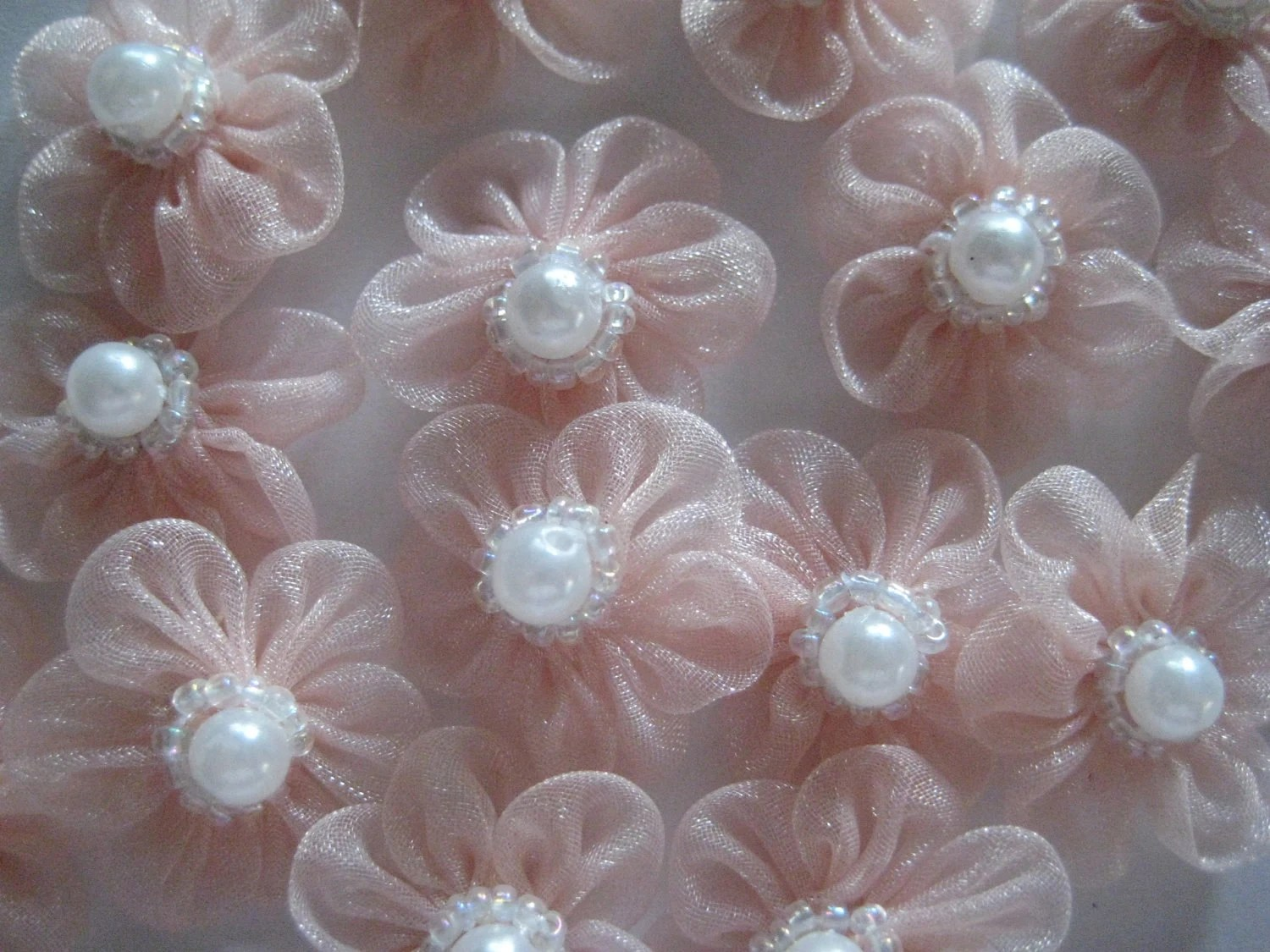 Light Mauve/Pink  Organza Flower with  Beads and pearl in the center - 12 pieces