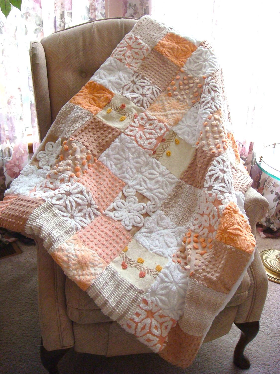 Peaches and Cream Vintage Chenille - Sample Quilt for Custom Order