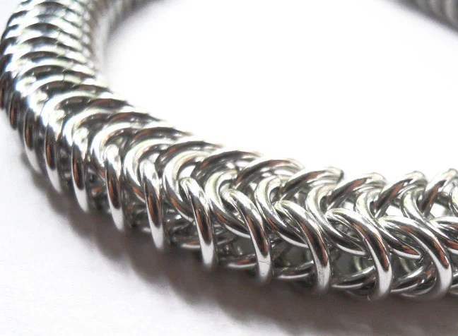 Unisex chainmaille bracelet - flattened box weave in bright aluminum - DoBatsEatCats