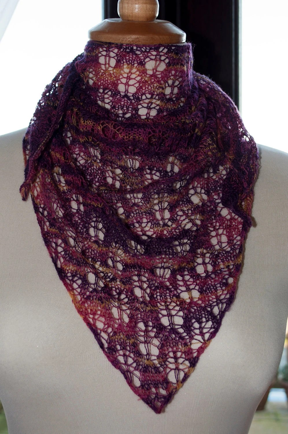 Handknitted Shawlette in Merino in Shades of Purple and Gold