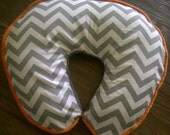 Modern ash gray and white chevron with dimple dot minky in gray nursing pillow cover with orange piping