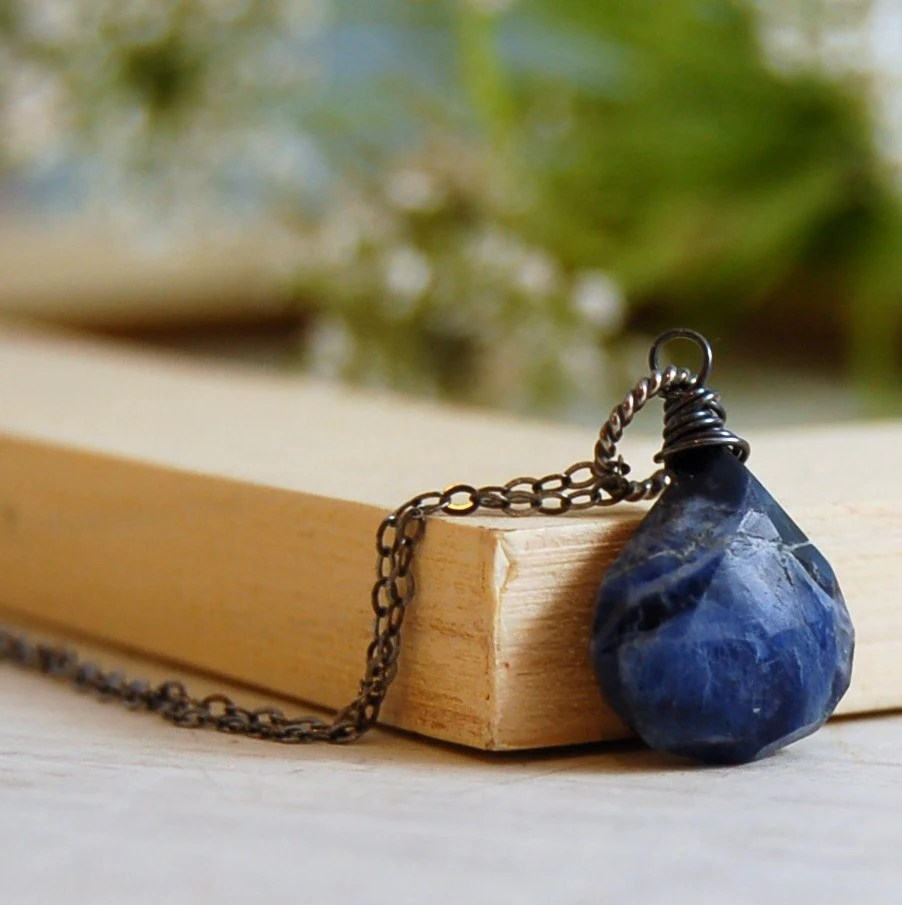 Sodalite Solitaire Necklace Blue Brio Necklace Oxidized Silver - LBlackbournJewelry