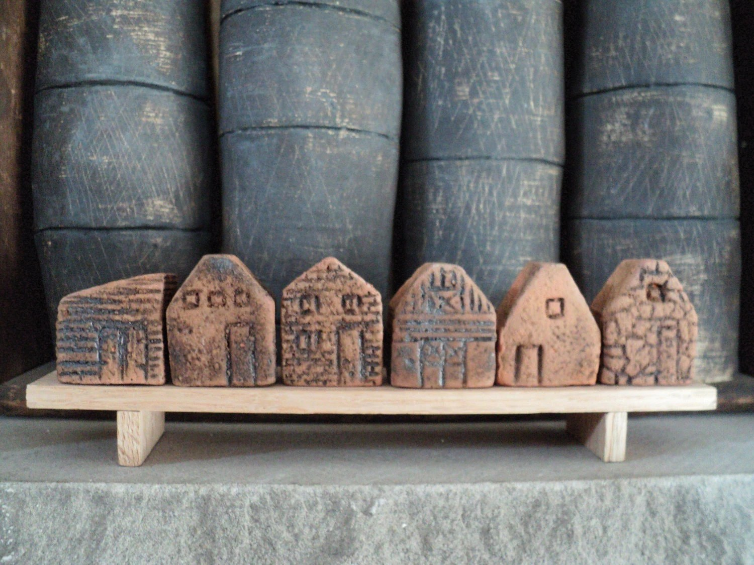 tiny clay houses on a bench - claychickadee