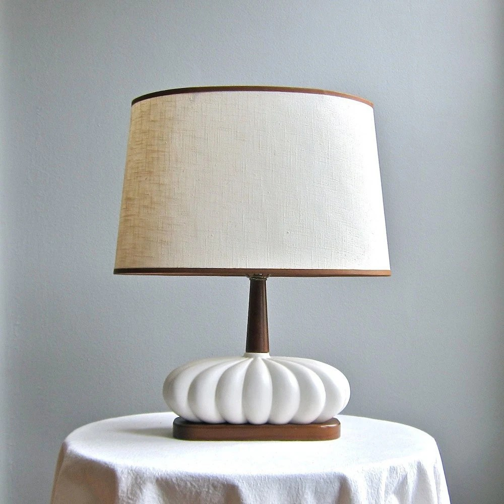 Mid Century Modern Table Lamp - White Ceramic and Walnut 1960s - BarkingSandsVintage