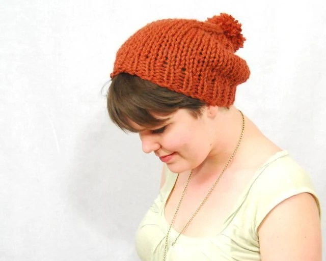 Slouchy Knit Hat, Rust Red with Pom Pom