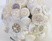 Crystal Button Bouquet,  Wedding, Hollywood Glam, White, Cream - angel9