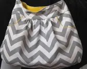 Large Hobo Bags, Purse, Sling, Slouch, Shoulder Bag, Gray Chevron, Yellow Accents, With 2 Deep FRONT Pockets, click here for more fabrics