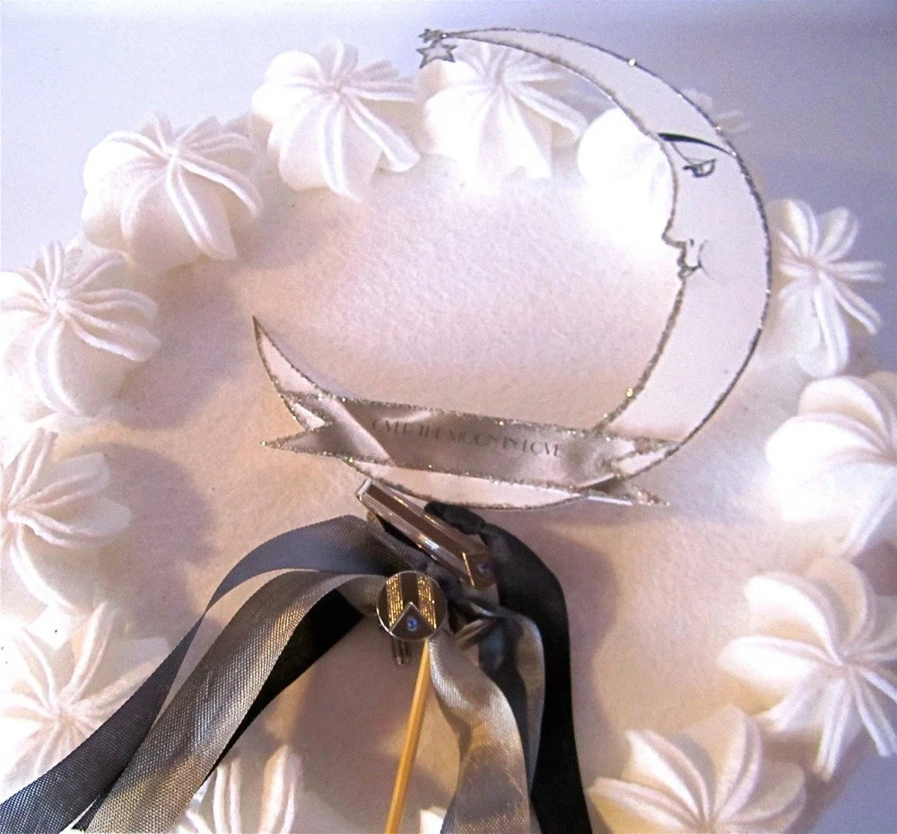 Groom's Wedding Cake Topper And Gift - Moon Vintage Style With Vintage Art Deco Tie Tack And Cufflinks