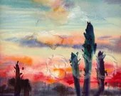 50% OFF Sunset original watercolor  painting 9x11 inch