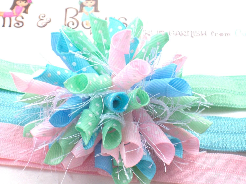 CandyLand Pastels Spring Easter Boutique Baby Girl Korker Hair Bow Shimmery Elastic Headband