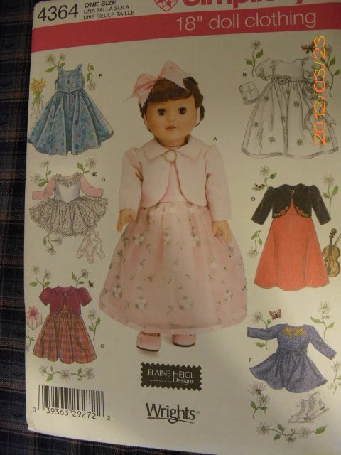 Simplicity Pattern No 4364 for 18 Inch Doll Clothes Dress, Overskirt, Top, Skirt, Leotard, Skirt and tutu