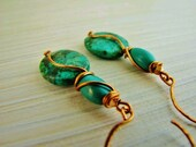 Turquoise gemstone earrings unique wirewrap bronze, artisan, handmade earrings ladies, dangles wirewrapped metal and stone