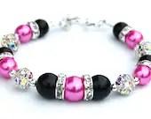 Hot Pink and Black Bridesmaid Bracelet, Rhinestone Pearl Jewelry, Bling Bracelet, Bridal Party