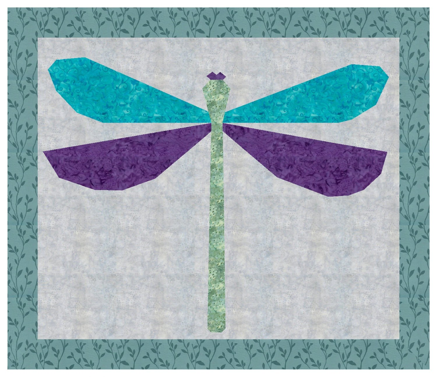 PDF Pattern Download Dragonfly Spring Foundation Paper Piecing Pieced Quilt Block Pattern shown in teal purple and greens