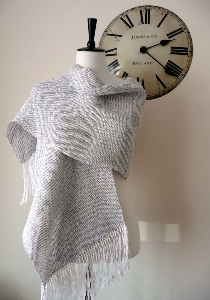 Pure linen hand woven wrap in silver
