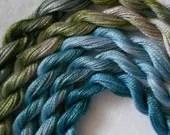 Olive, Steel Blue, Slate Blue, Perle Fine, 5 pack, Yarn, Mixed Media, Textile Art, Fiber Art, Serendipity