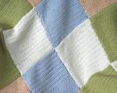 Blanket, Throw, Baby, Lap - Pastel Patchwork Hand Crochet - Merino/Cashmere