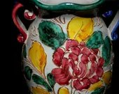 Vintage colorful Italian  art  pottery  ruffled rim   vase