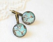 Spring Cherry Blossoms Earrings Wearable Photo Art Vintage Inspired - Shabby Chic- Robin blue egg - AldariJewelryDesigns