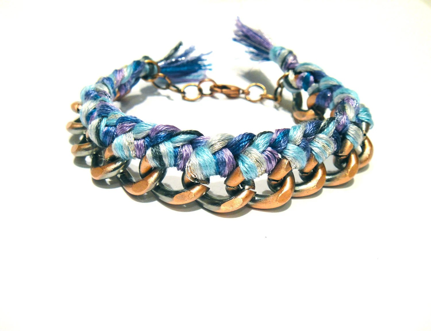 fantasy v6 in purple & blue // multi-colored braided chunky copper and silver chain stacking bracelet with lobster clasp - brooklynstars