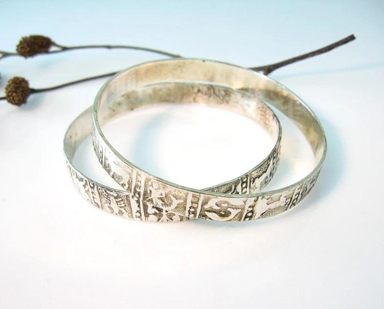 Taxco Silver Zodiac Bangles Set 2 Vintage Mexico Bracelets 1970s Jewelry - bohemiantrading