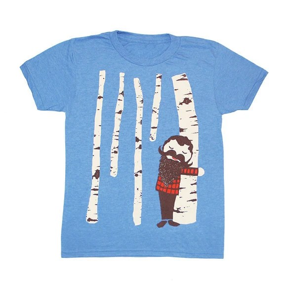 KIDS TODDLER / Tree Hugger - T-shirt Boy Girl Children Tee Shirt Cute Beard Mustache Birch Tree Forest Lumberjack T-shirt - Blue - 2 4 6 - GnomEnterprises