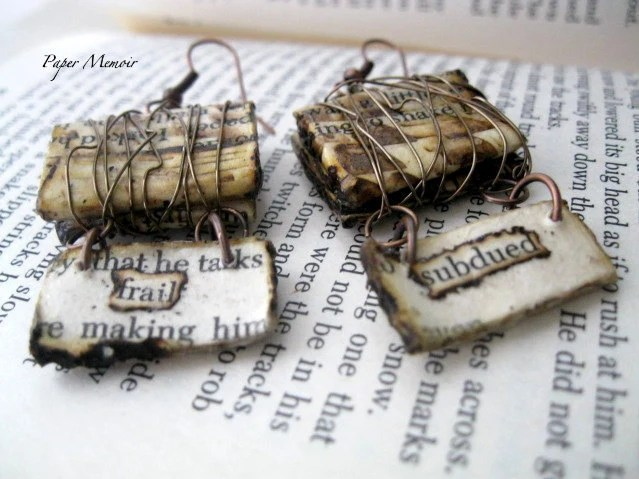Paper Jewelry Wire Wrapped Earrings