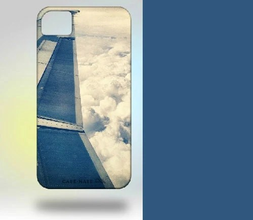 iPhone 4 Case: Wing and Clouds Original Photography  blue white pastel airplane - Gallery32Photography