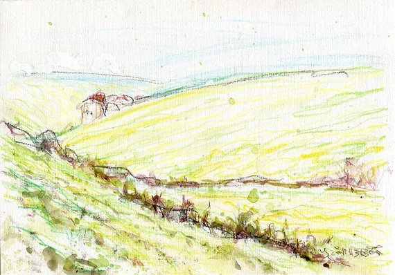 A quick sketch of East Midlands countryside (UK), 8 x 6 inches