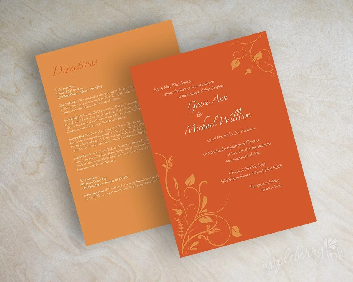 Wedding invitations, swirly flower vines in dark orange and pumpkin orange