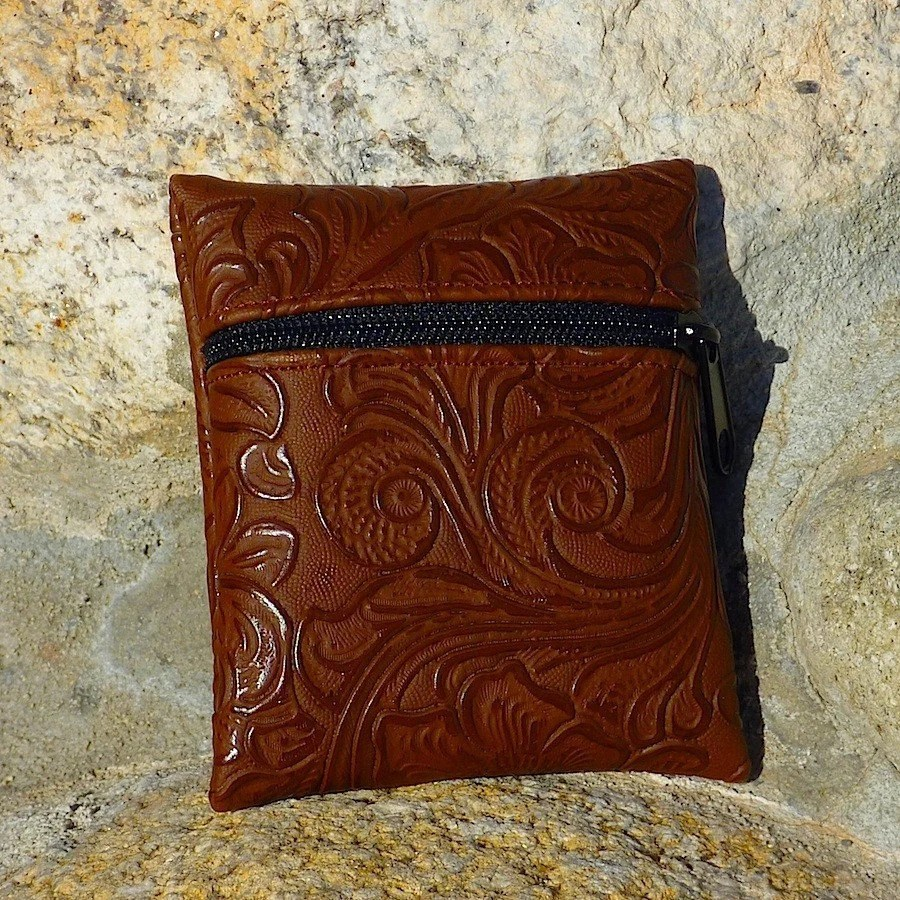Tiny Coin Purse Dark Brown Stamped Faux Leather