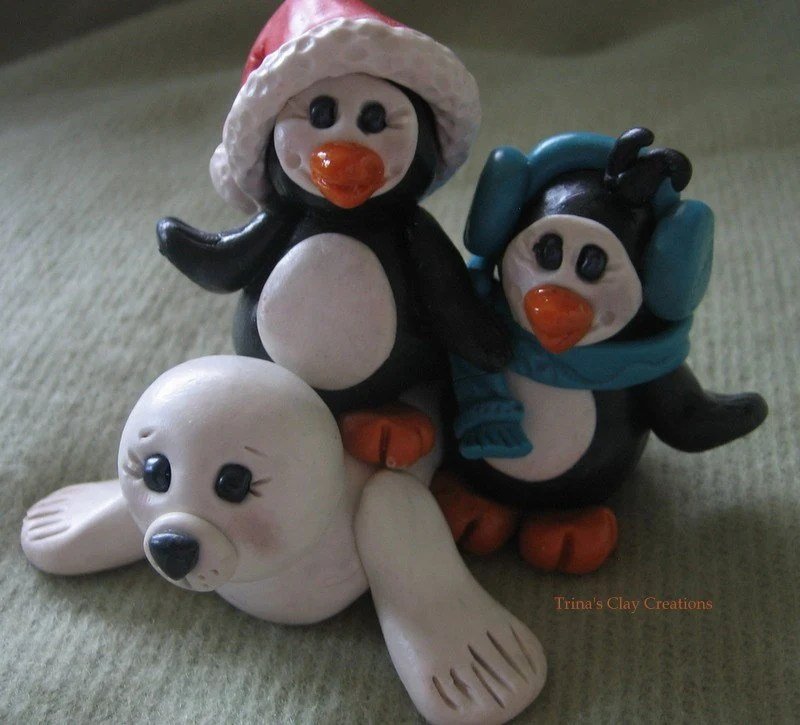 Polymer Clay Penguins with Seal