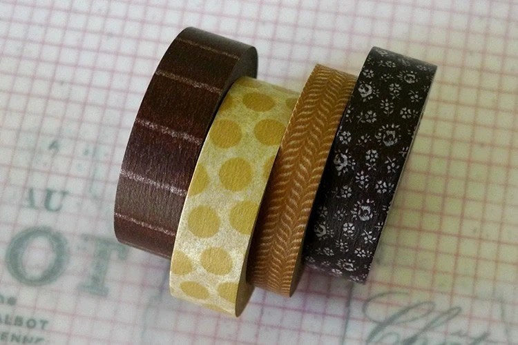 Pretty Brown Polka Dots Stripes Pattern Japanese Masking Tape 15mm - Set of 4