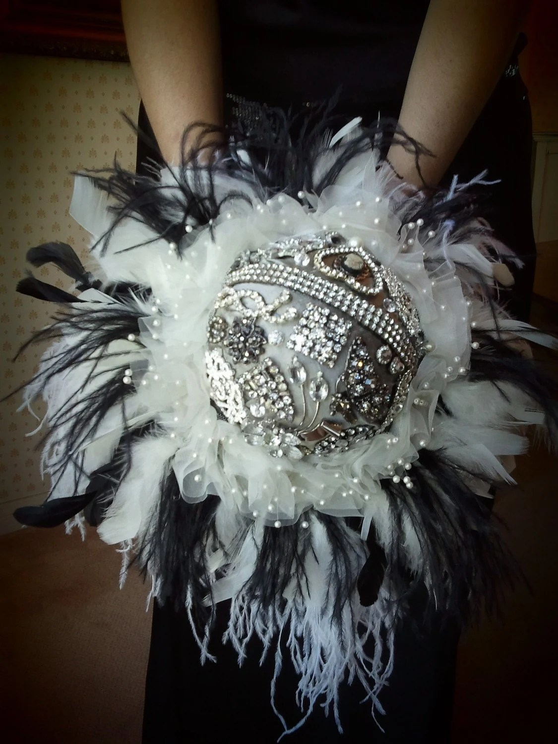Brooch Bouquet, Feathers- Sterling Silver Edition