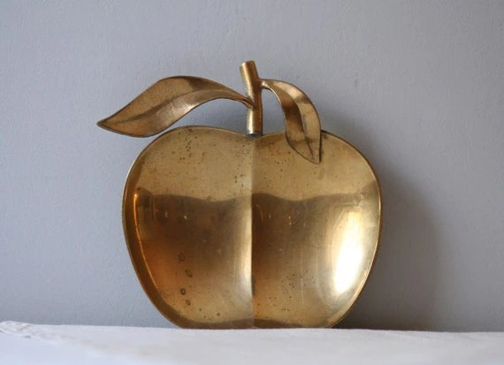 vintage solid brass apple dish
