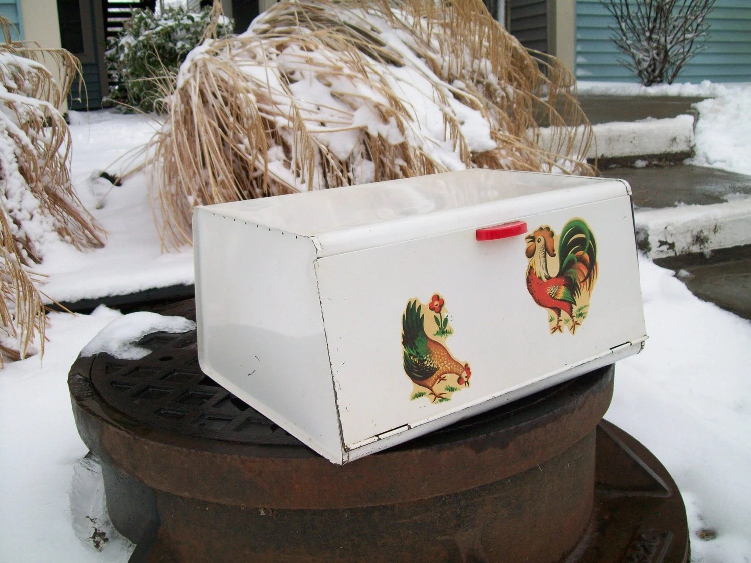 Vintage Rooster Bread Box RESERVED